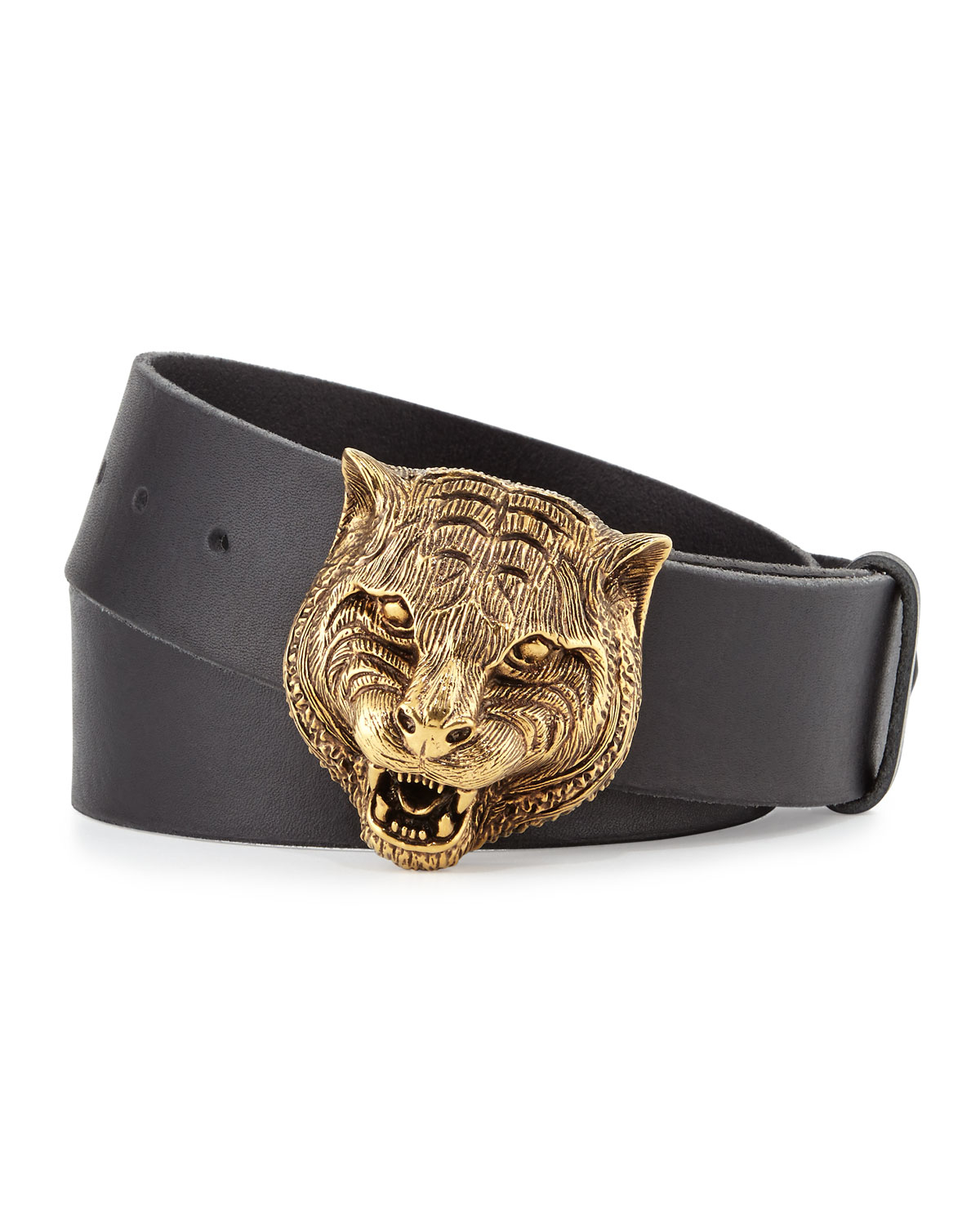 7cb2e3ea880 Lyst - Gucci Men s Leather Belt With Tiger Buckle in Black for Men