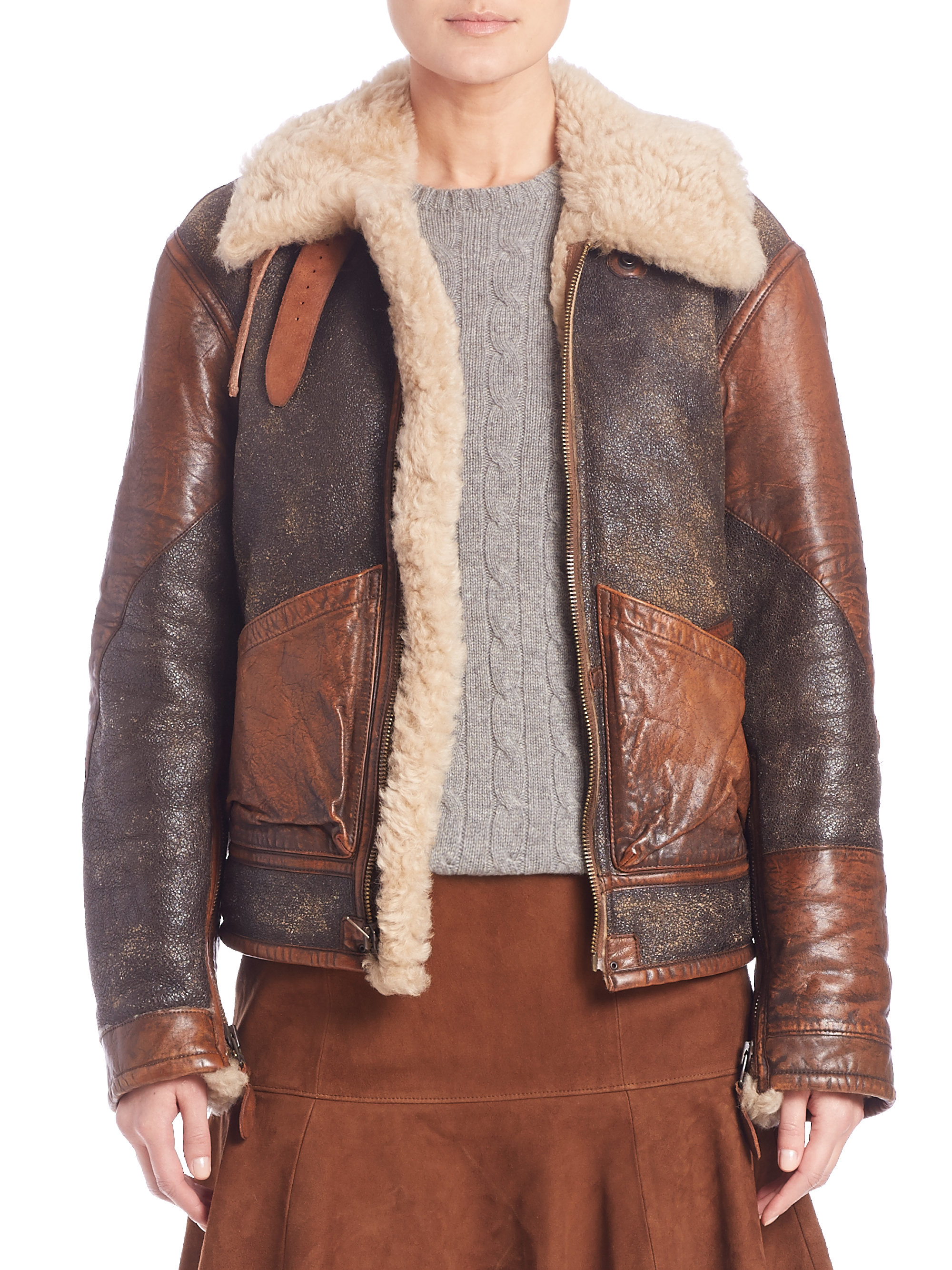 Lyst - Polo Ralph Lauren Shearling Bomber Jacket in Brown 8366a44dc899b