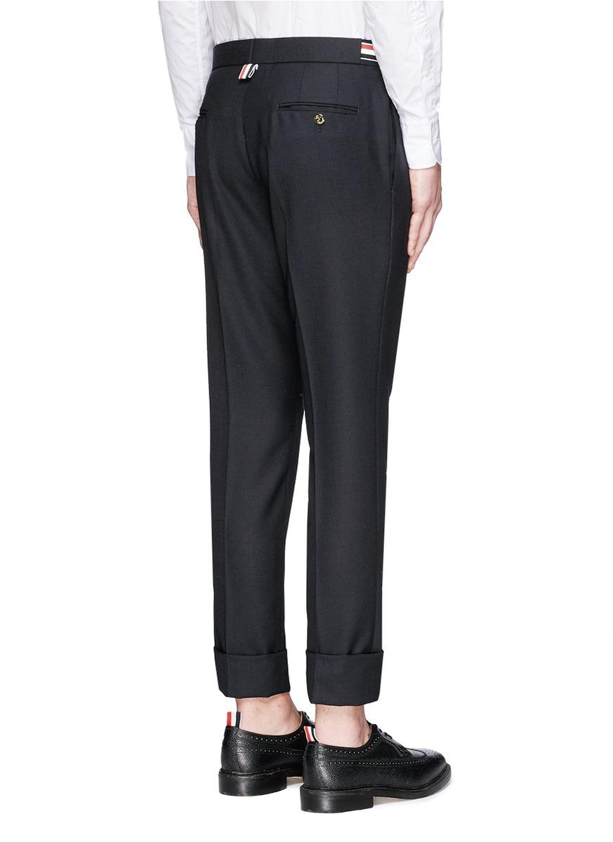 673699bb6cc Lyst - Thom Browne Grosgrain Side Adjuster Wool Pants in Blue for Men