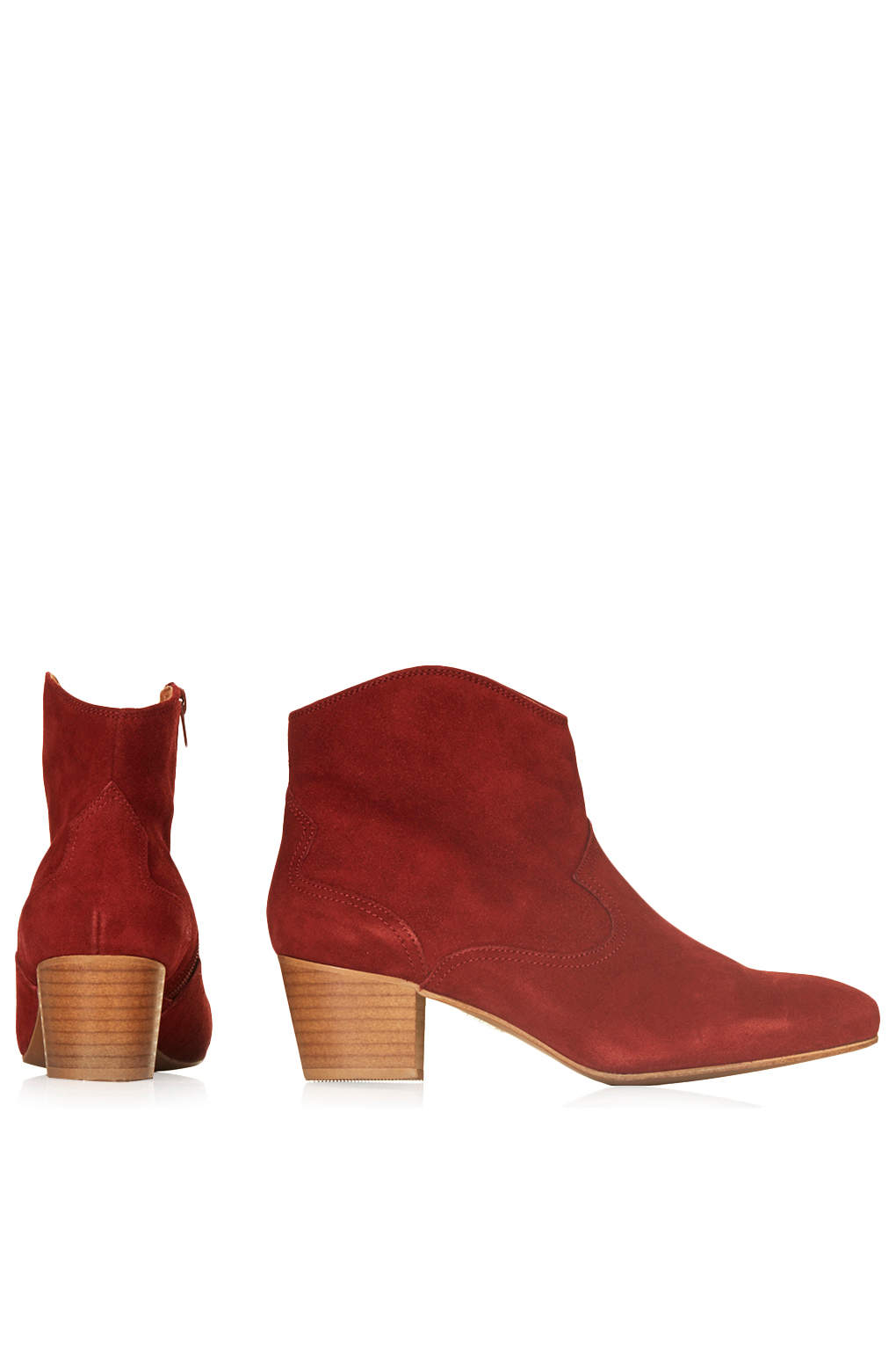 Topshop Womens Annette Cowboy Boots Burgundy In Red