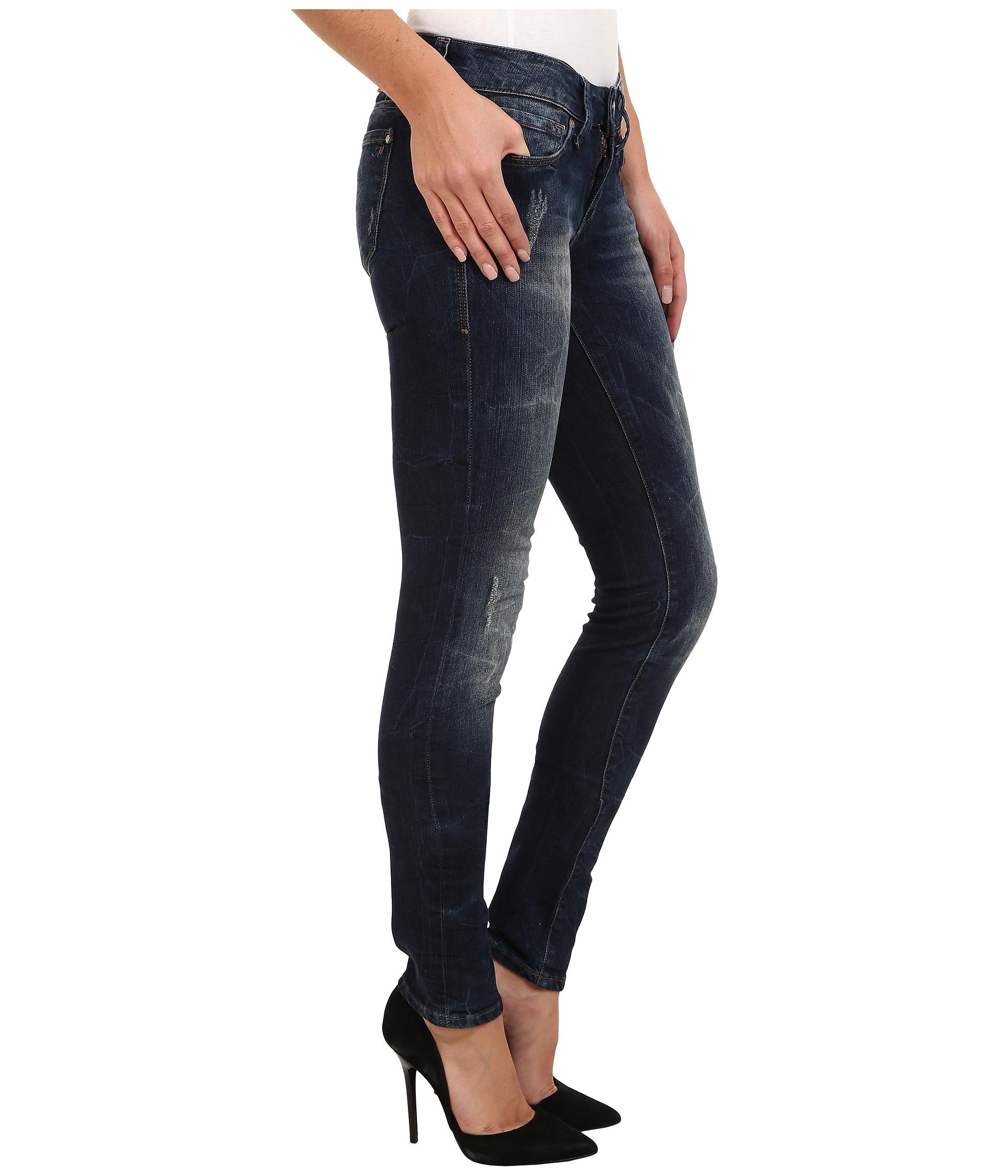 lyst mavi jeans serena lowrise super skinny in dark used. Black Bedroom Furniture Sets. Home Design Ideas