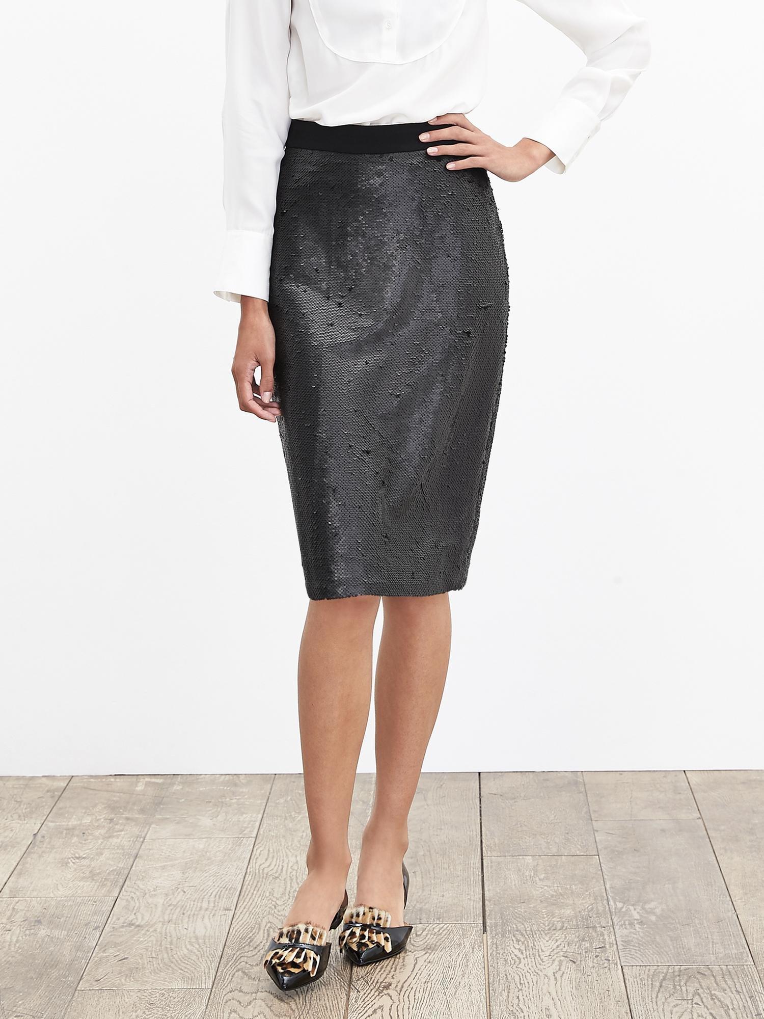 banana republic sequin pencil skirt in black lyst