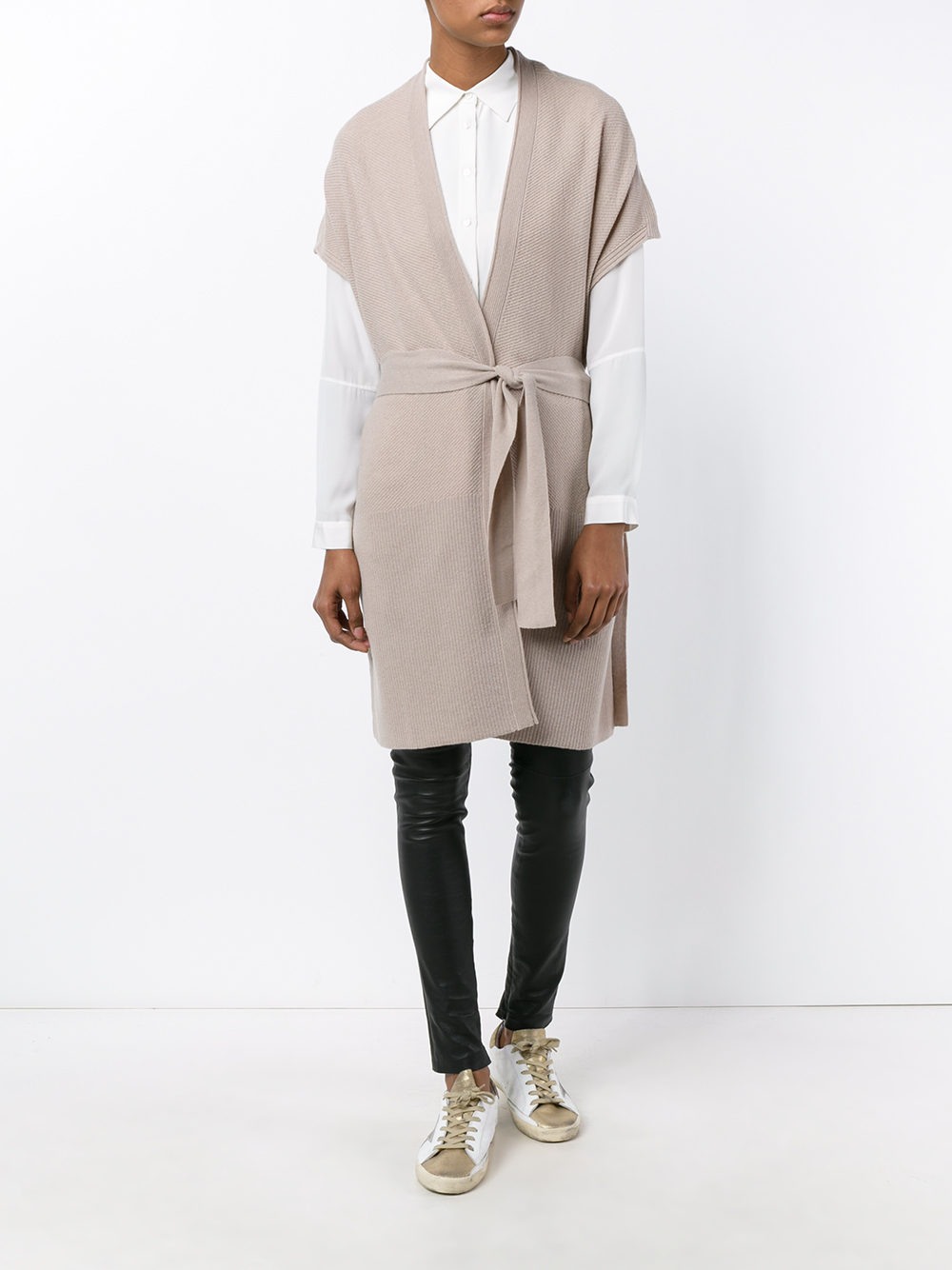 Vince Belted Duster Short Sleeve Cardigan in Gray | Lyst