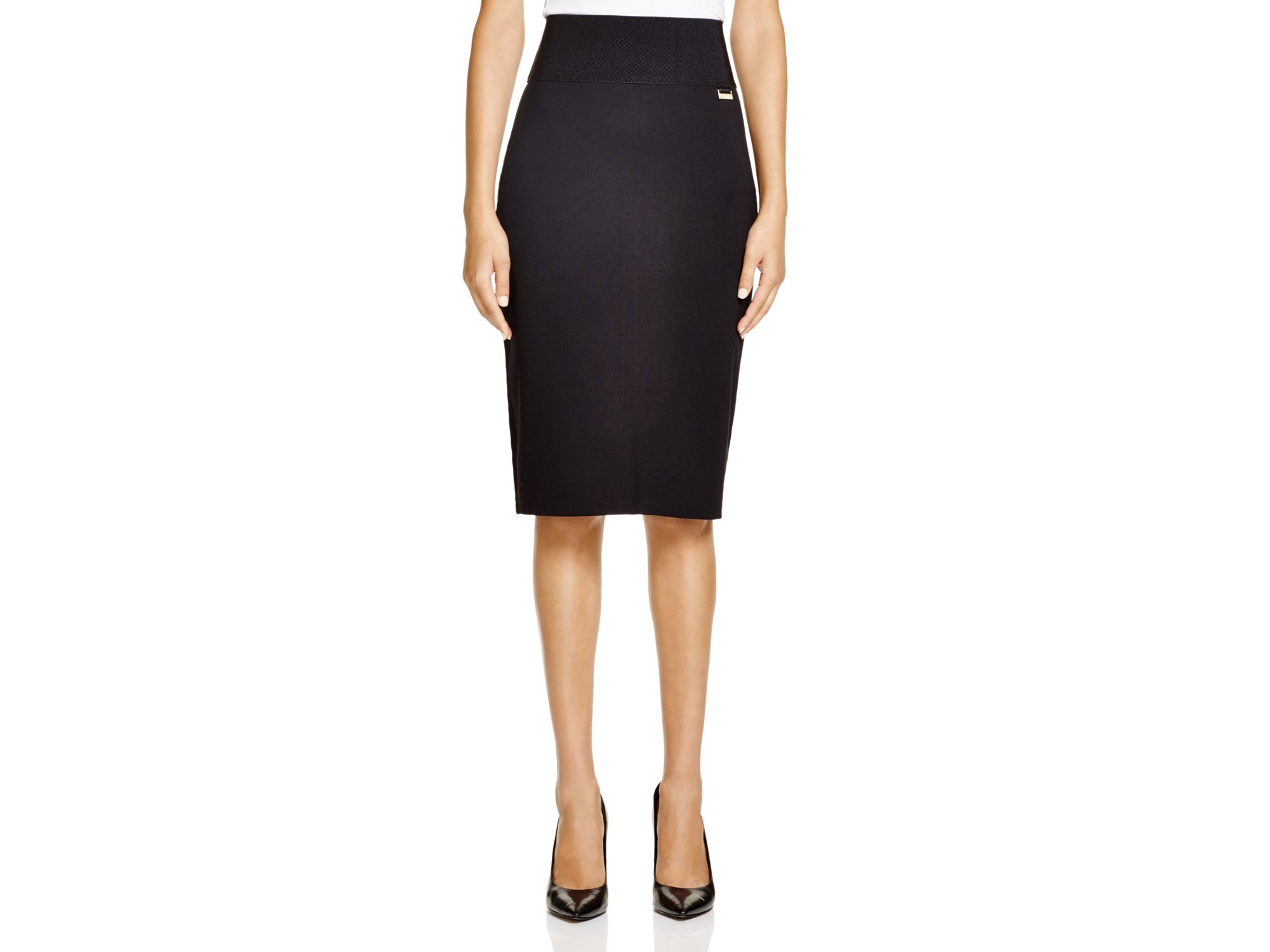 calvin klein pencil skirt in black lyst