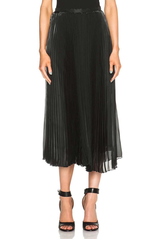 by pleated midi skirt in black lyst