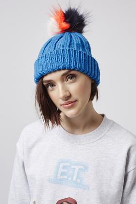Topshop Multi-coloured Pom Beanie Hat in Blue - Lyst 79cc540ede9