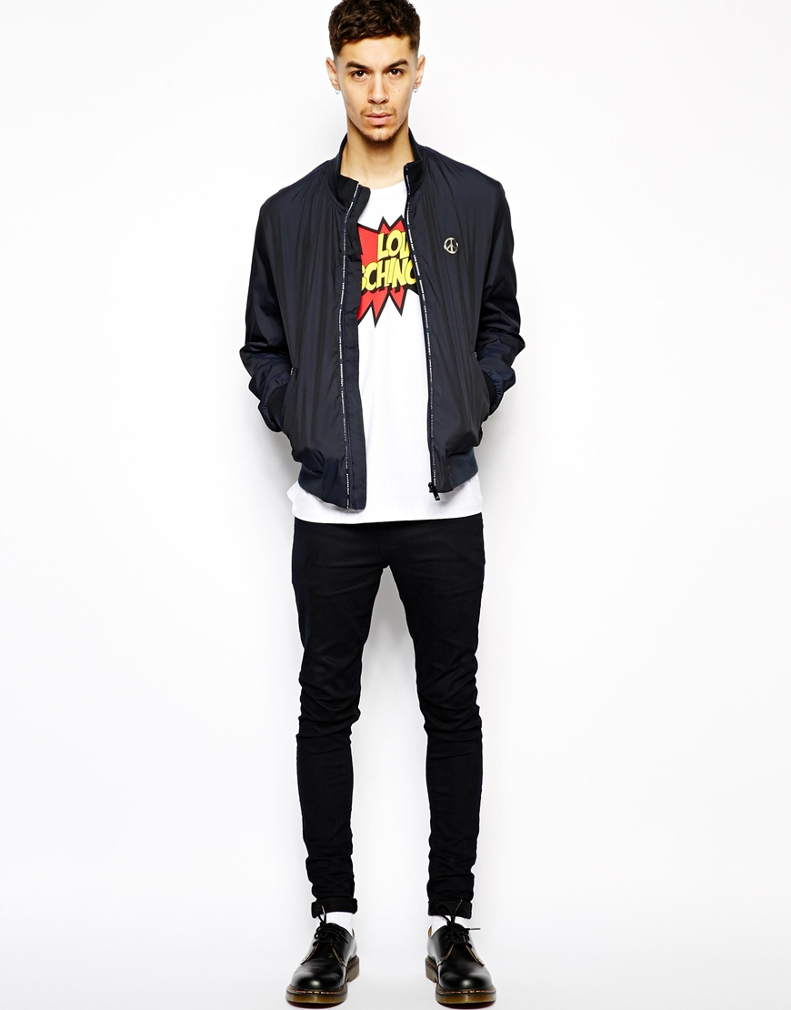 Love moschino Bomber Jacket in Blue for Men | Lyst