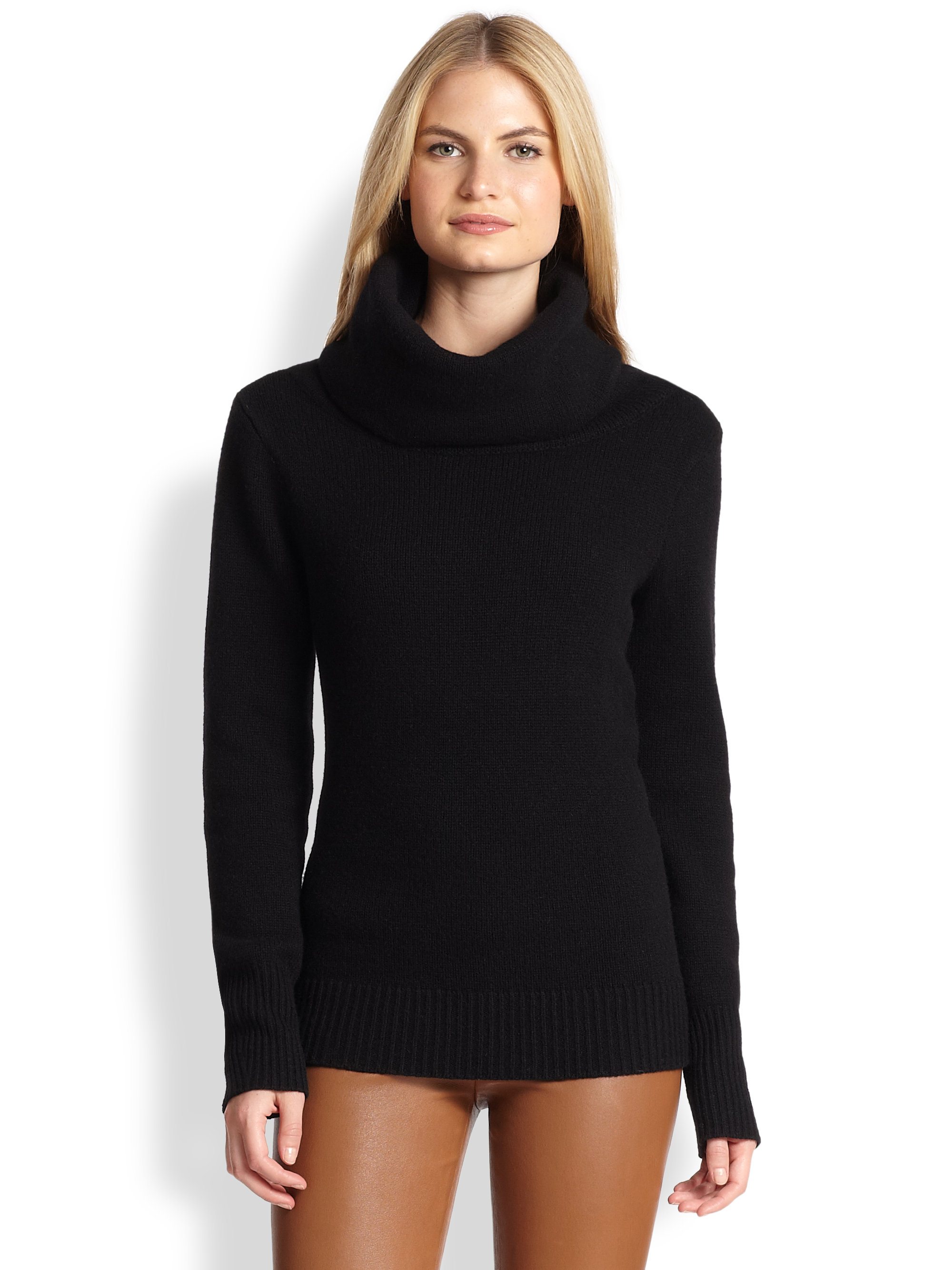 Ralph lauren black label Cashmere Cowlneck Sweater in Black | Lyst