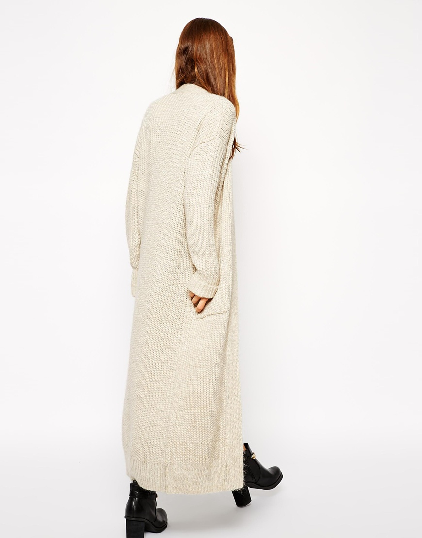 Asos Maxi Cardigan With Alpaca Wool in Natural | Lyst
