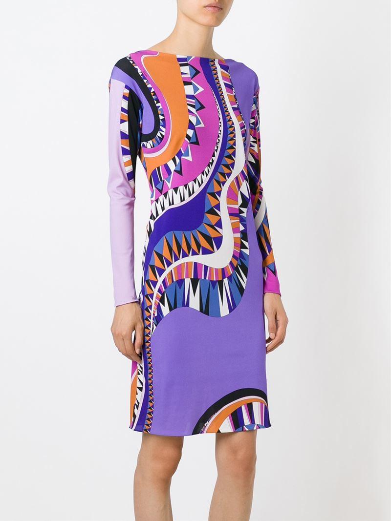 printed shift dress - Brown Emilio Pucci 0nlqX