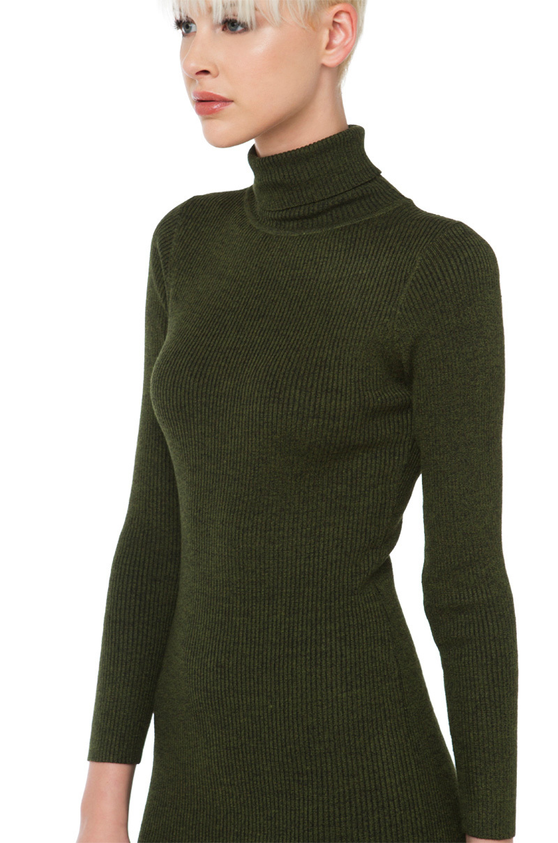 cee16ae57f AKIRA Turtleneck Long Sleeve Sweater Dress in Green - Lyst