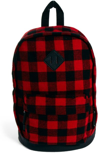 Asos Backpack in Buffalo Check in Red for Men | Lyst