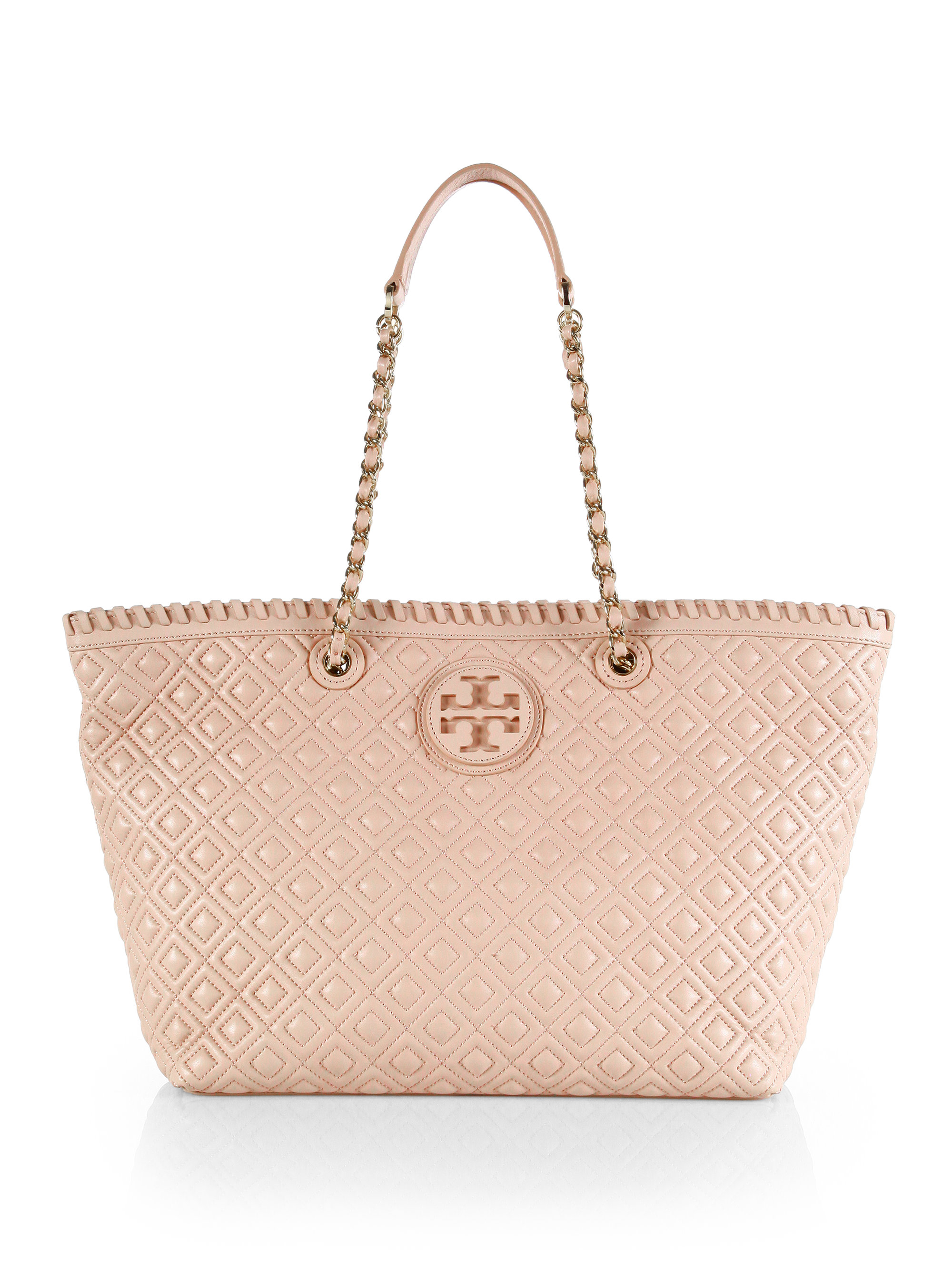 Tory Burch Marion Quilted Tote In Pink Lyst