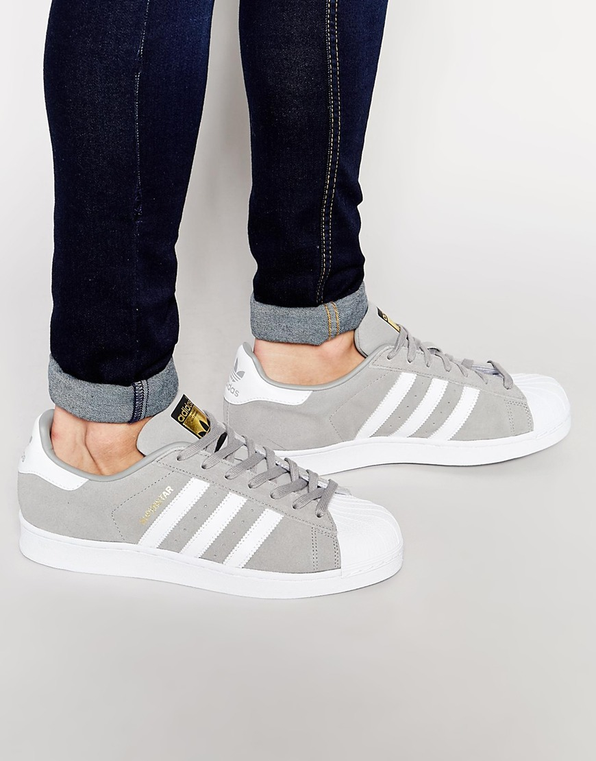 Mens Adidas Superstar Athletic Shoe White Gray