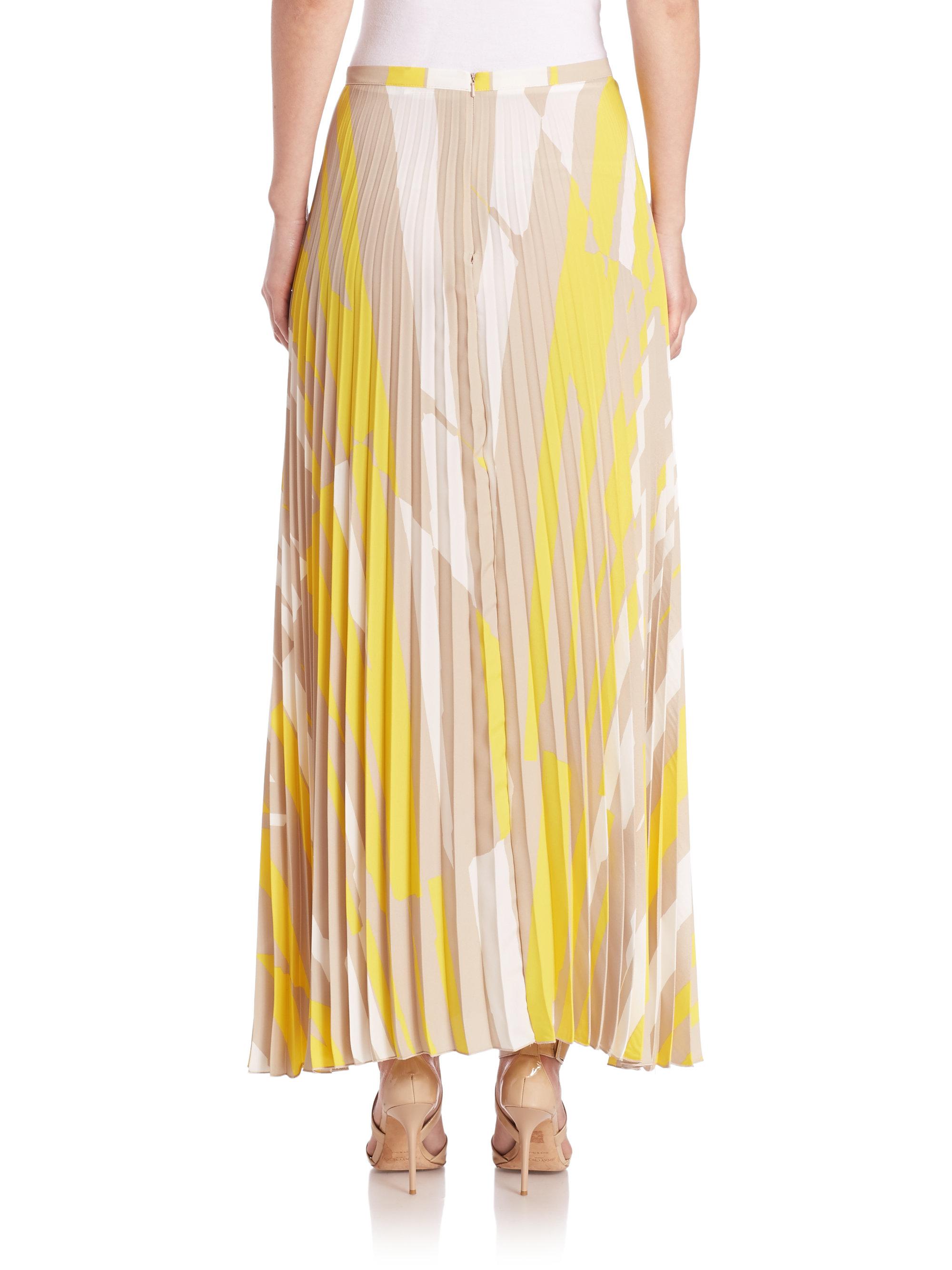 max mara uccio printed pleated maxi skirt in yellow lyst