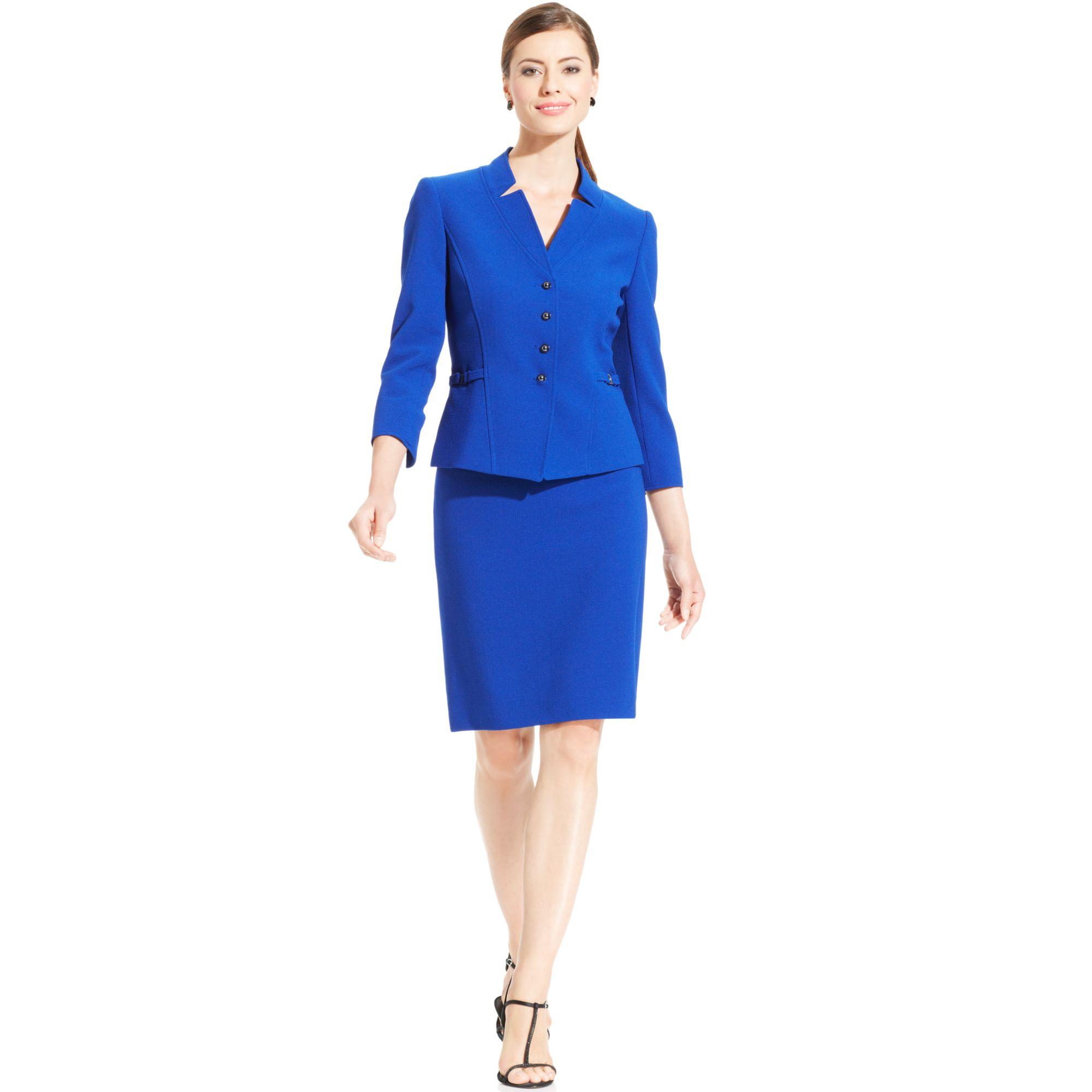 tahari asl textured crepe skirt suit in blue royal
