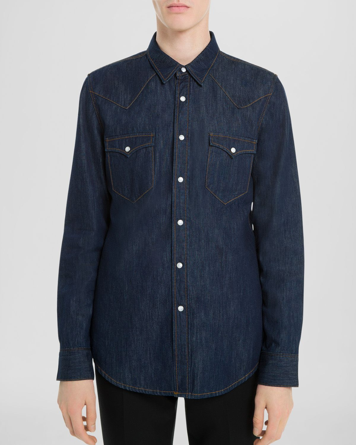 Sandro western raw button down shirt slim fit in blue for Athletic fit button down shirts