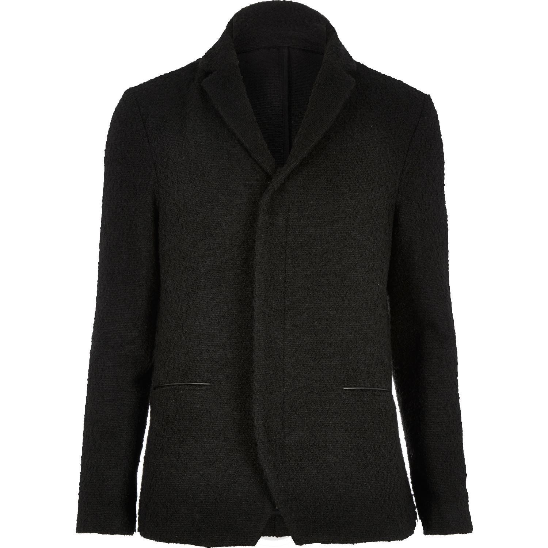 River island Black Boiled Wool Jacket in Black for Men | Lyst