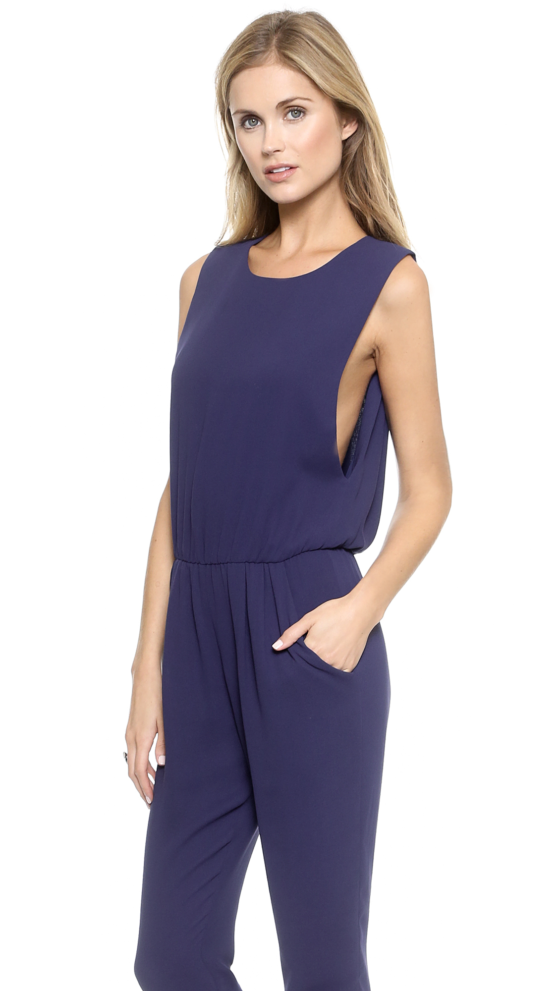 Wonderful Navy 39verao39 Jumpsuit From Reality Studio Featuring A Rounded V Neck