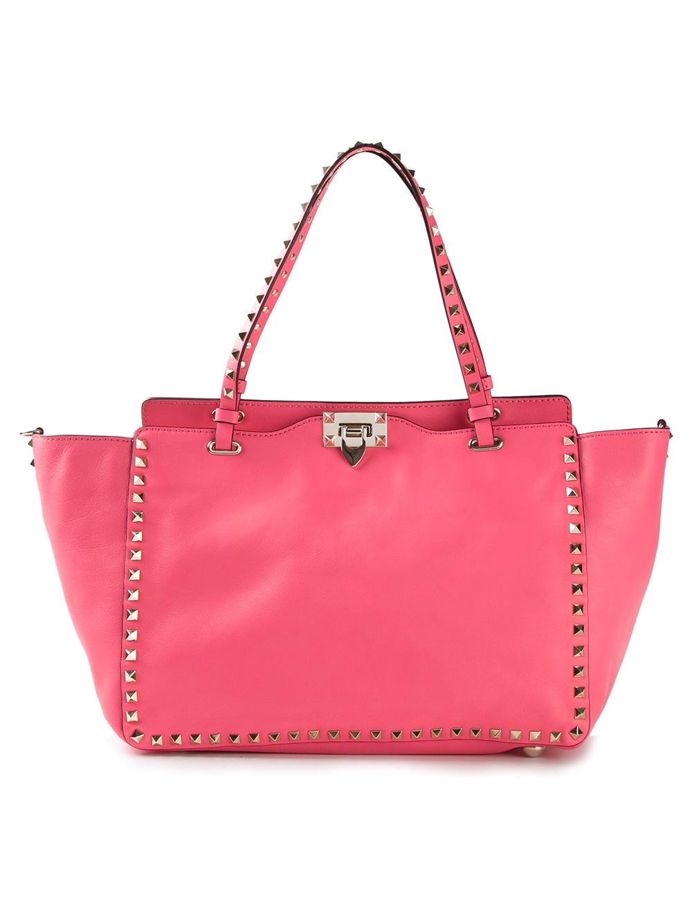 valentino rockstud tote bag in pink lyst