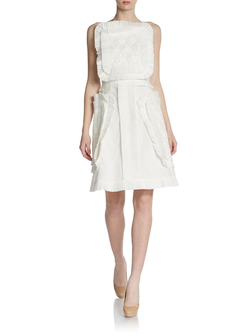 1ed07b8e7450 Lyst - Fendi Pleated Apron Dress in White