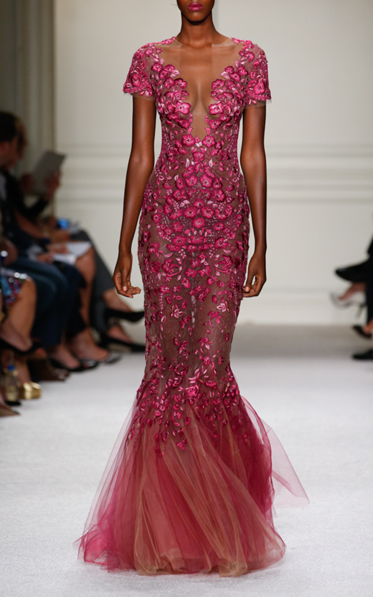 5ce32bb3 Marchesa Floral Threadwork Embroidered Fishtail Gown in Pink - Lyst
