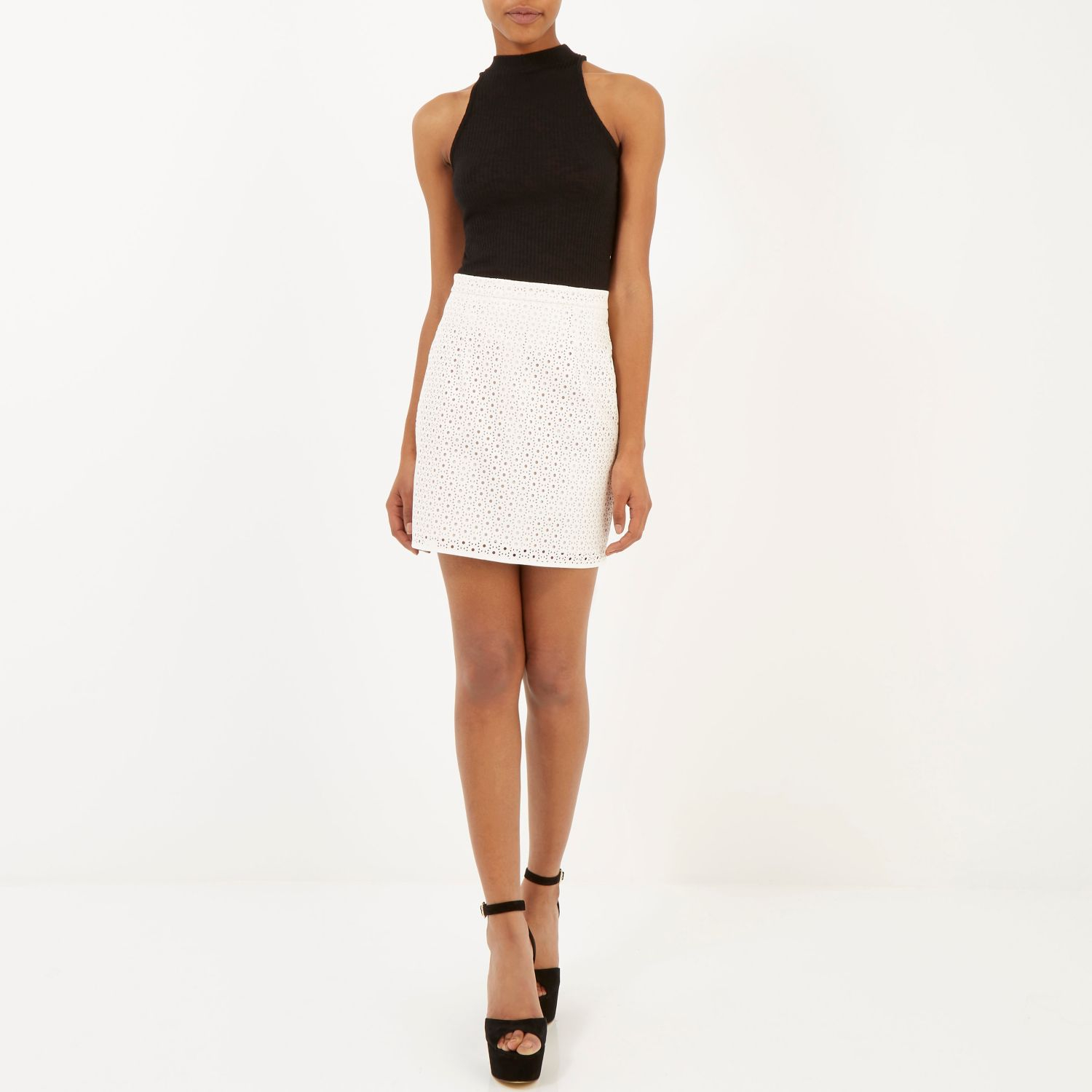 River island Cream Punched Leather-look Mini Skirt in Natural | Lyst