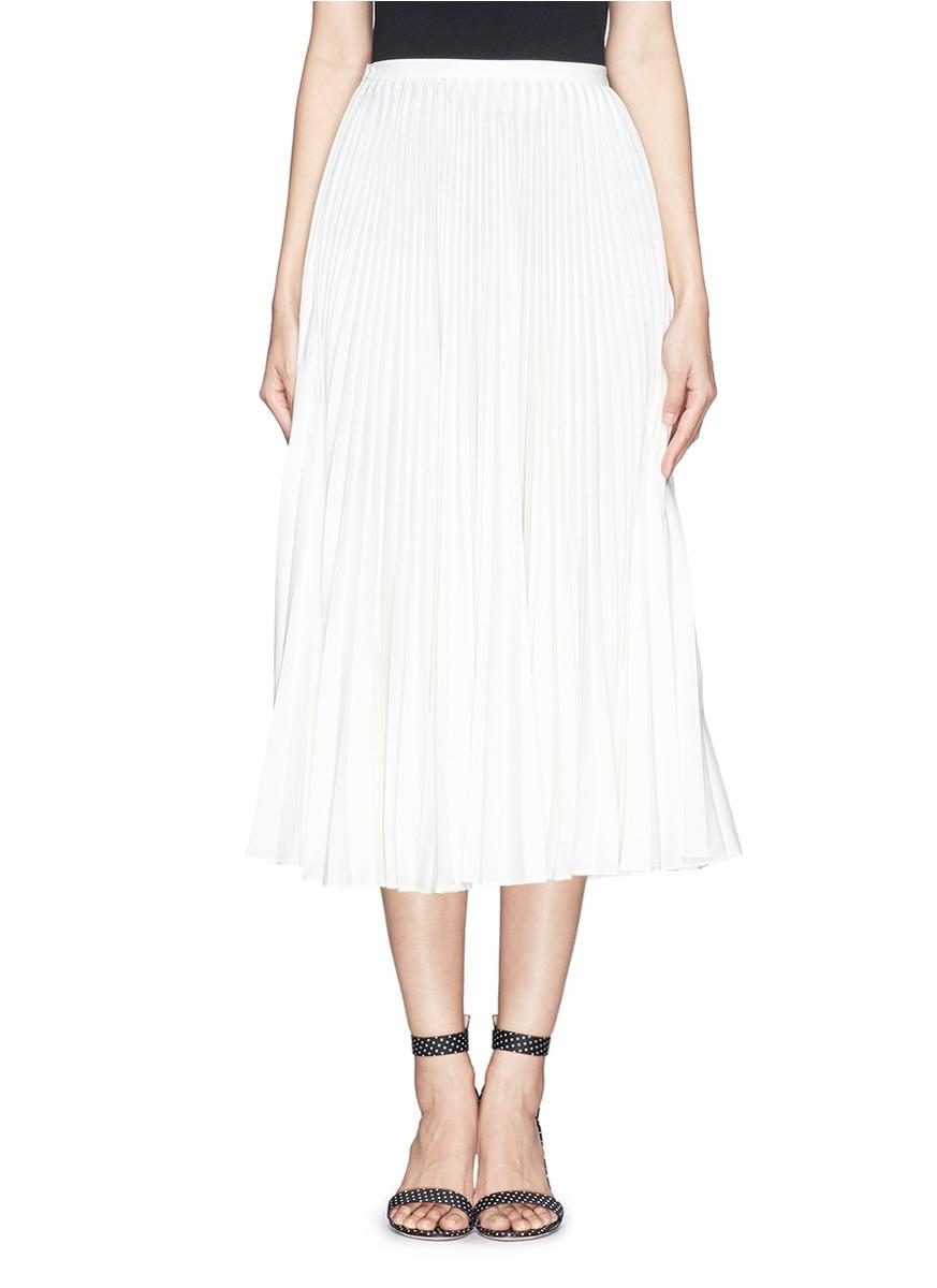 Chictopia Plissé Pleat Midi Skirt in White | Lyst