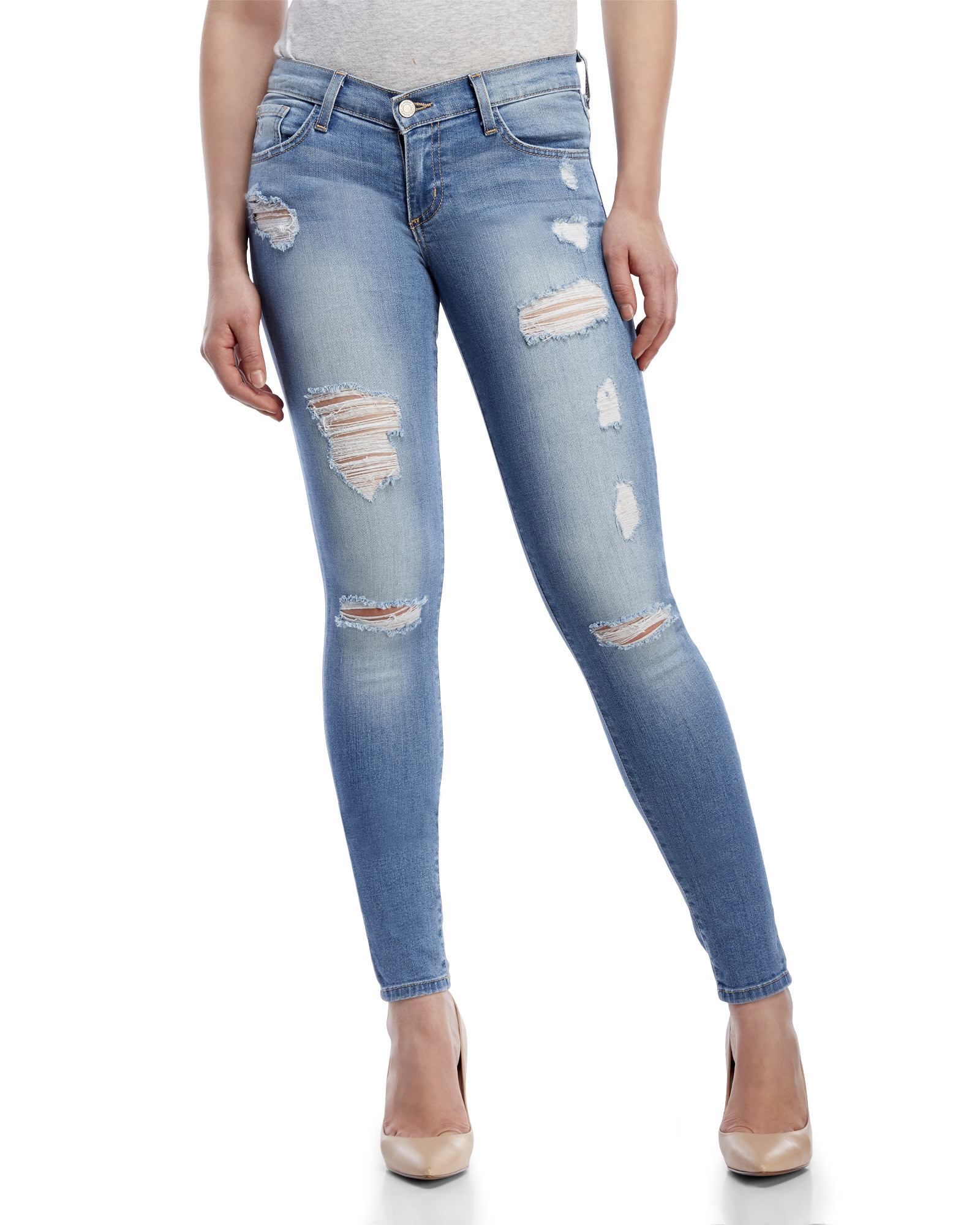 Flying monkey Distressed Low-Rise Skinny Jeans in Blue | Lyst