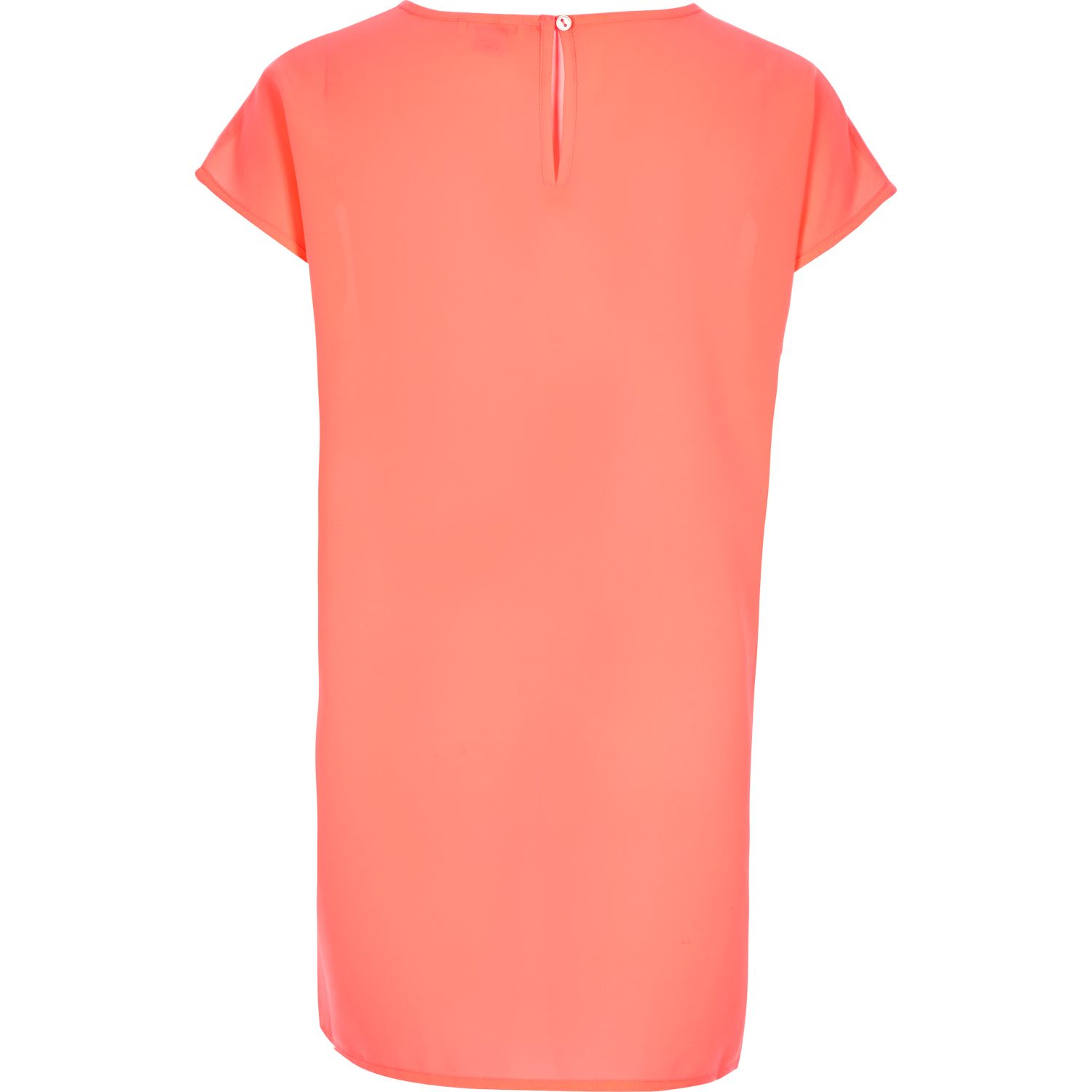 River Island Girls Coral Pink Longline T-shirt In