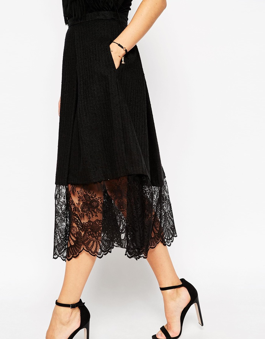 Asos Midi Skirt In Texture With Lace Hem in Black | Lyst