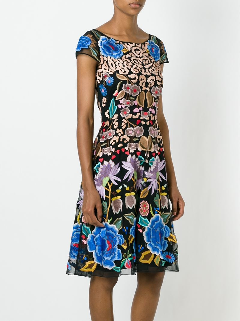 Temperley London Flower Embroidered Dress In Black Lyst