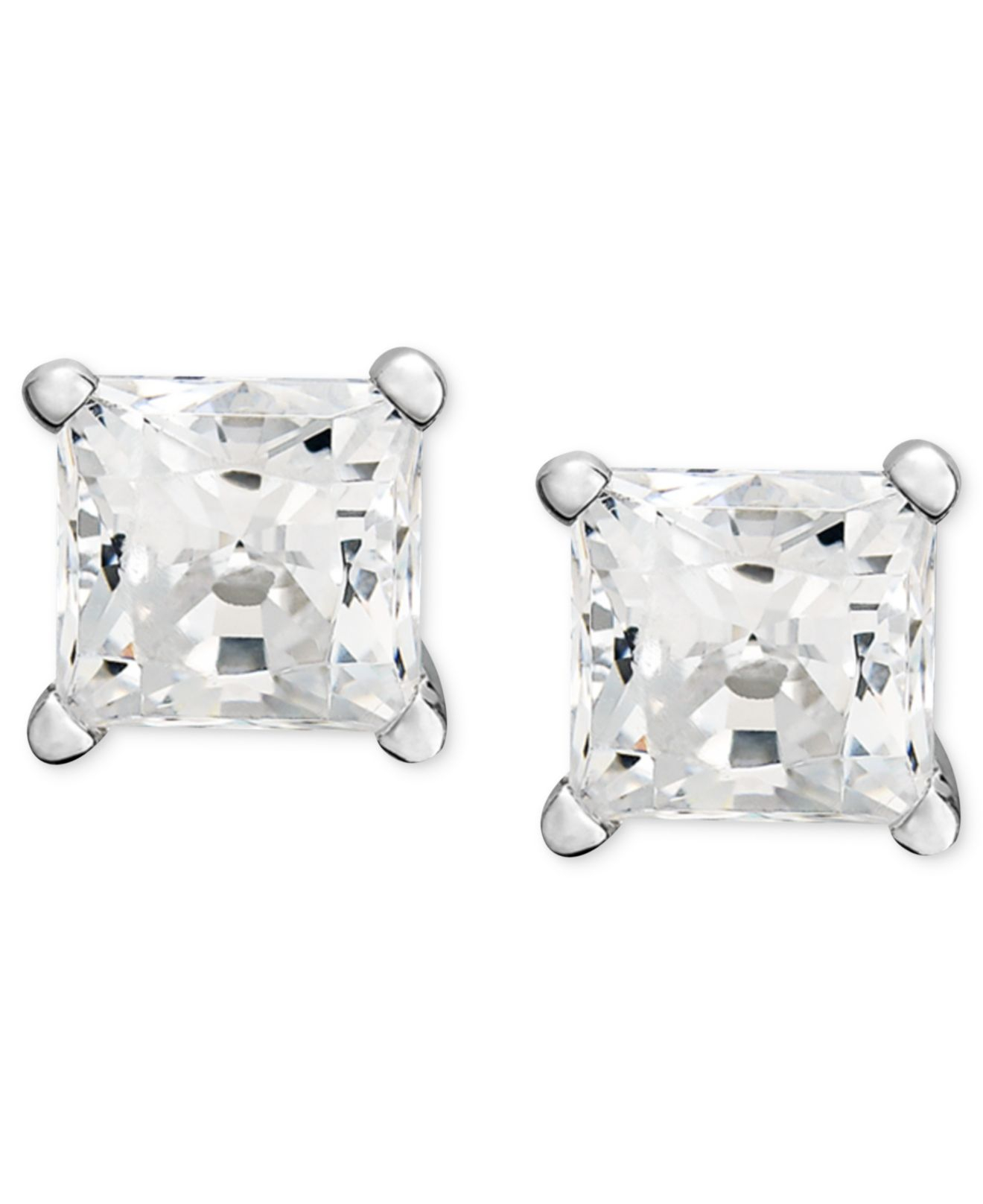 pin earrings i cut platinum screwback ctw color square princess stud diamond clarity