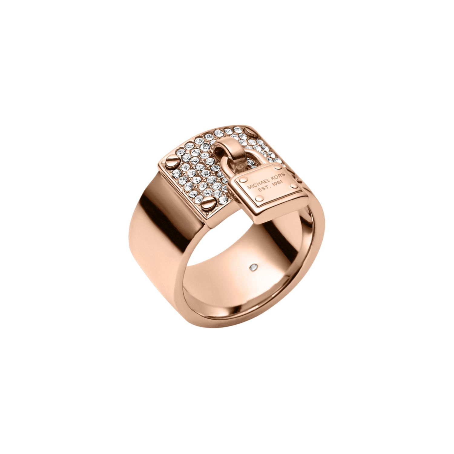 michael kors rose gold tone padlock charm ring in pink lyst. Black Bedroom Furniture Sets. Home Design Ideas