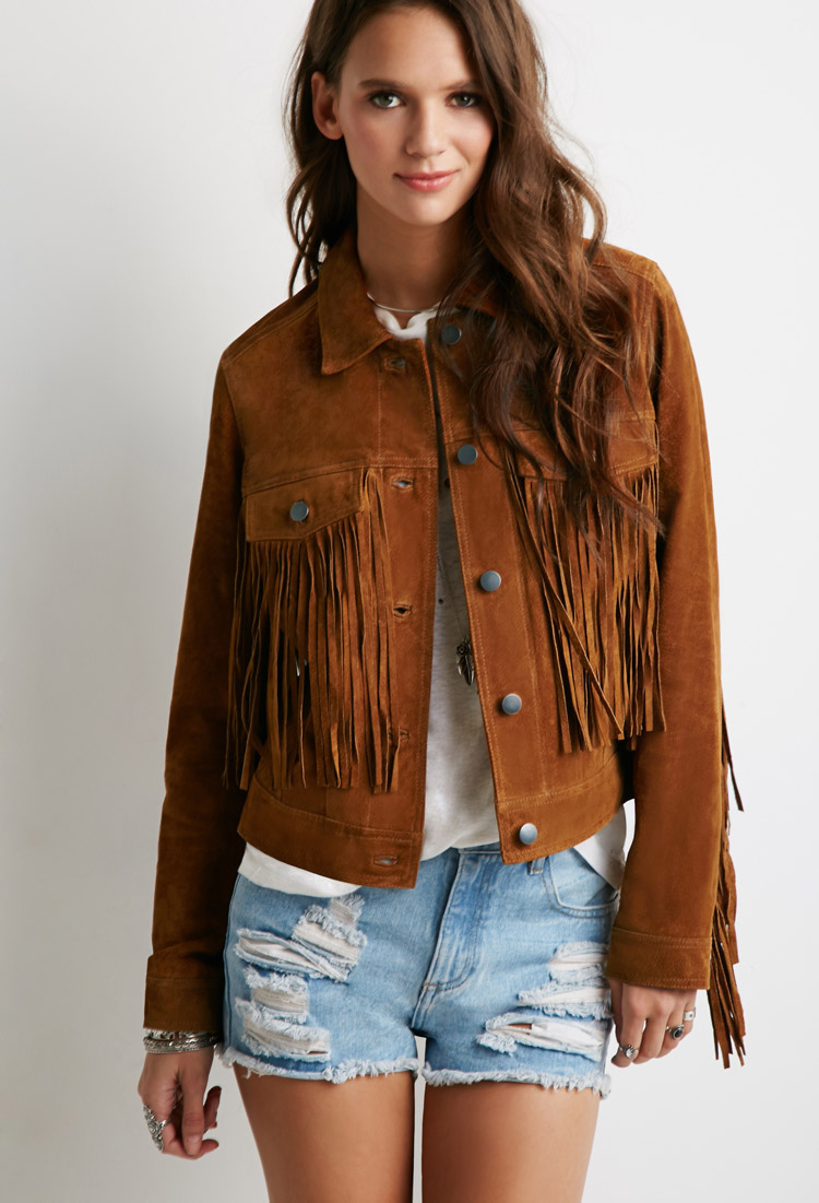 Forever 21 Suede Fringe Jacket in Brown | Lyst