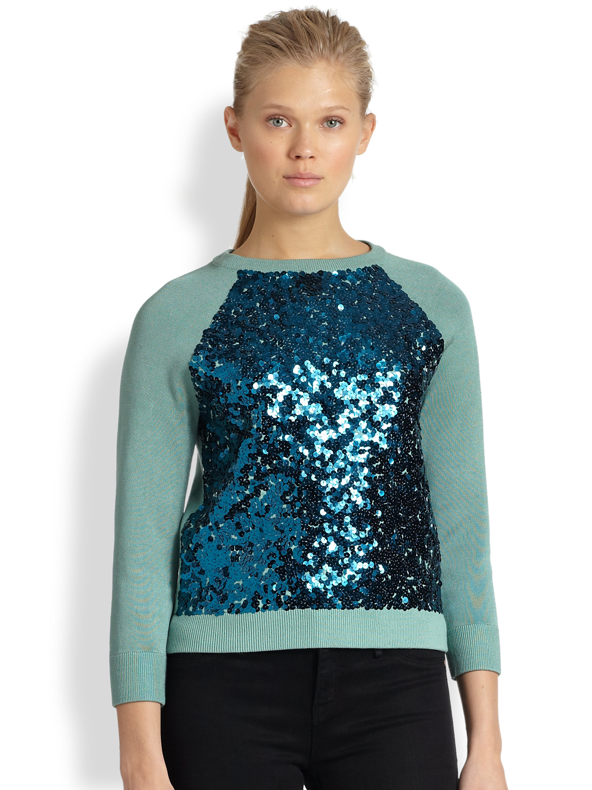 Marc by marc jacobs Gretta Sequin Sweater in Green | Lyst