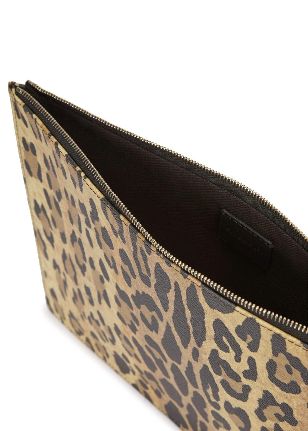 2abaa212b398 Givenchy Large Leopard-print Faux Leather Clutch - Lyst