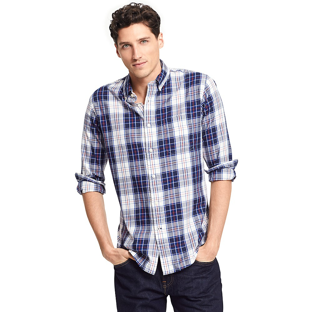 Tommy Hilfiger Classic Fit Plaid Shirt In Blue For Men