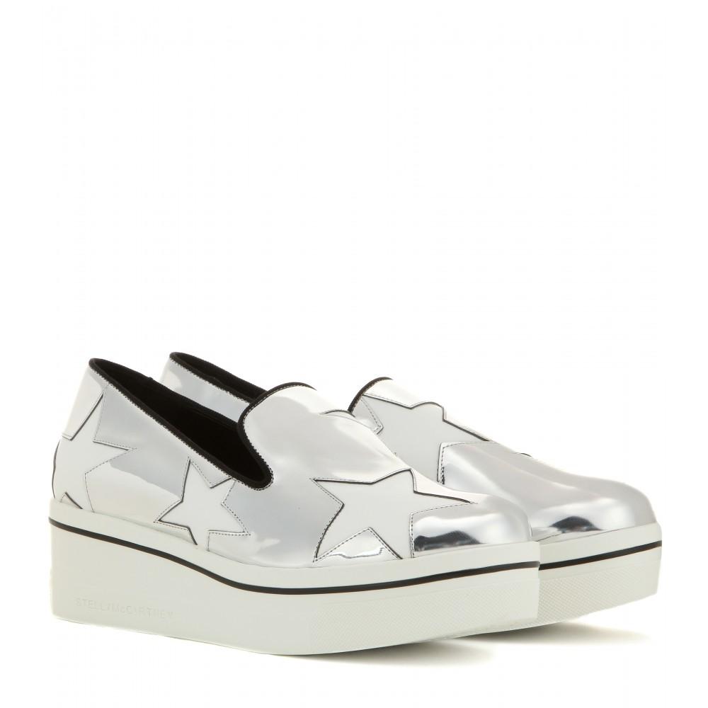 stella mccartney metallic platform slip on sneakers in