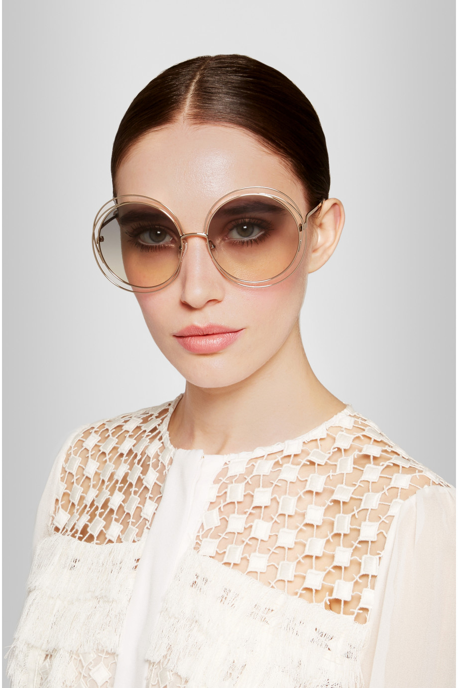 c97f54a8434 Lyst - Chloé Carlina Oversized Round-Frame Stainless Steel ...