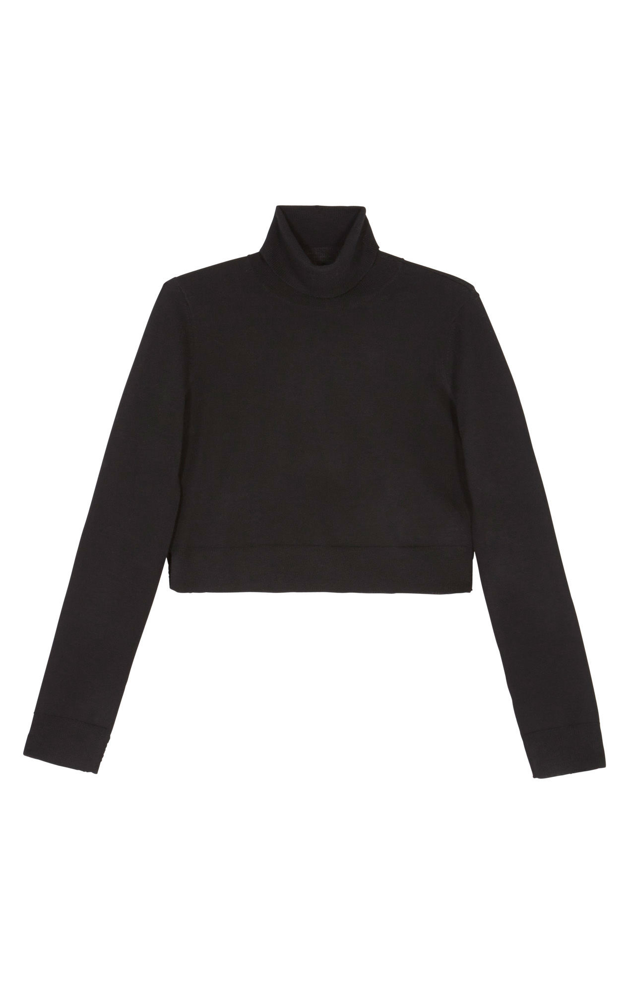 cbab891973a BCBGMAXAZRIA Natassia Cropped Turtleneck Wool Sweater in Black - Lyst