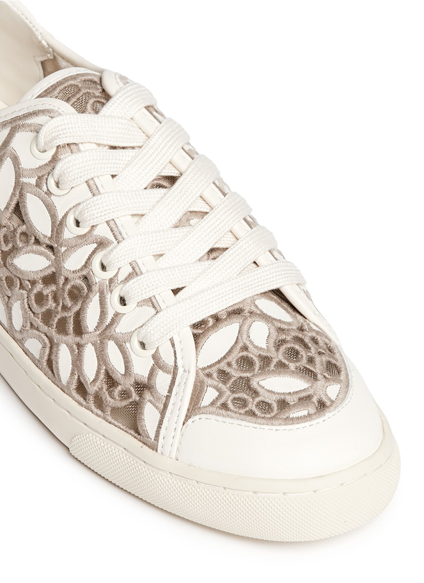 ca72febc129 Lyst - Tory Burch  rhea  Embroidered Leather Sneakers