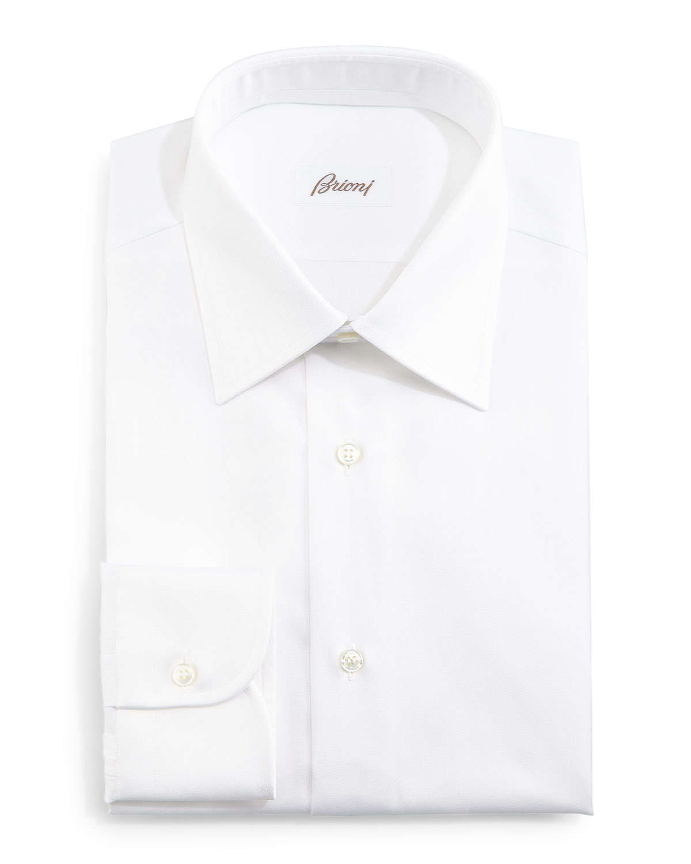 Brioni herringbone stripe dress shirt in white for men lyst for White herringbone dress shirt