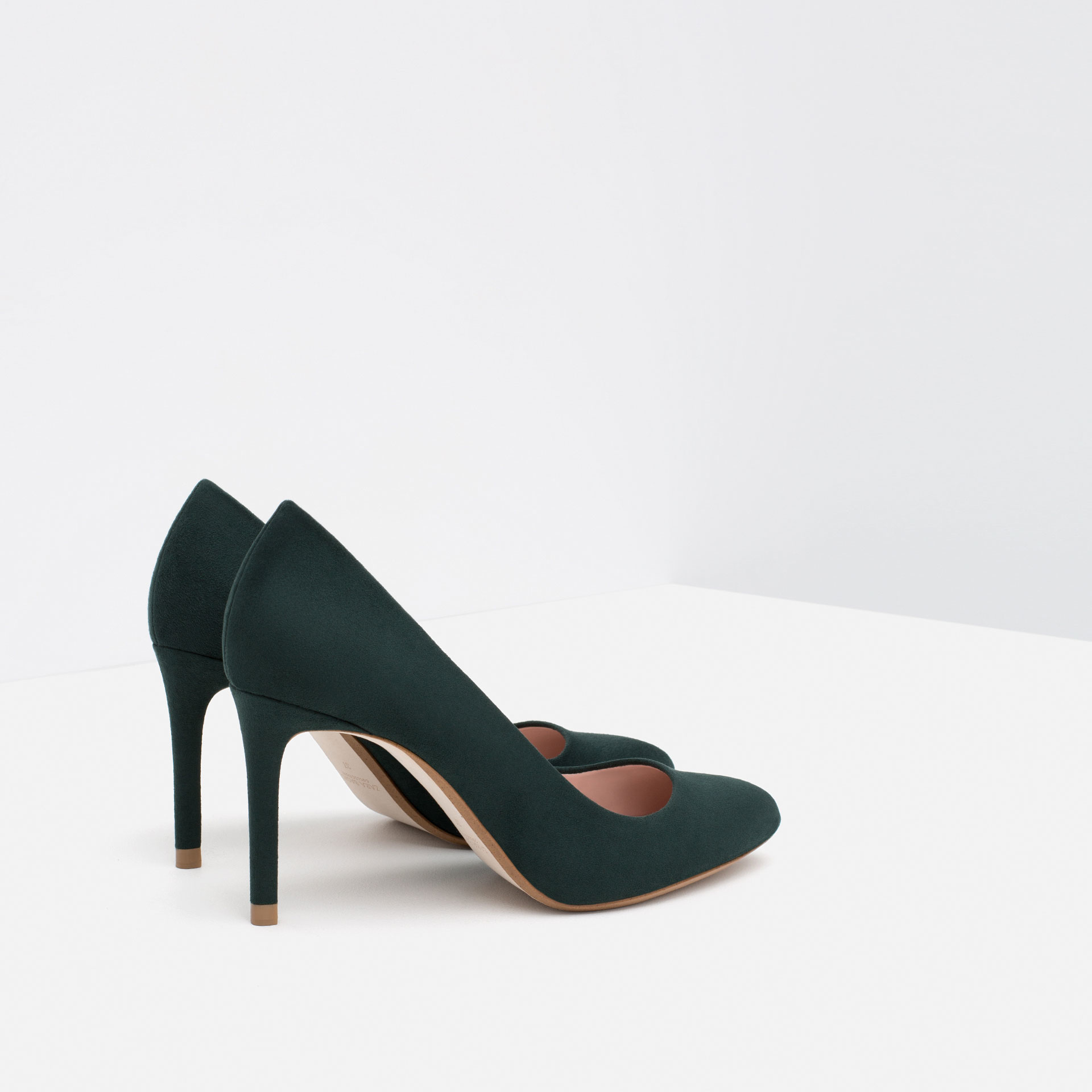 Cool Zara Flat Leather Shoes With Block Heel In Black  Lyst