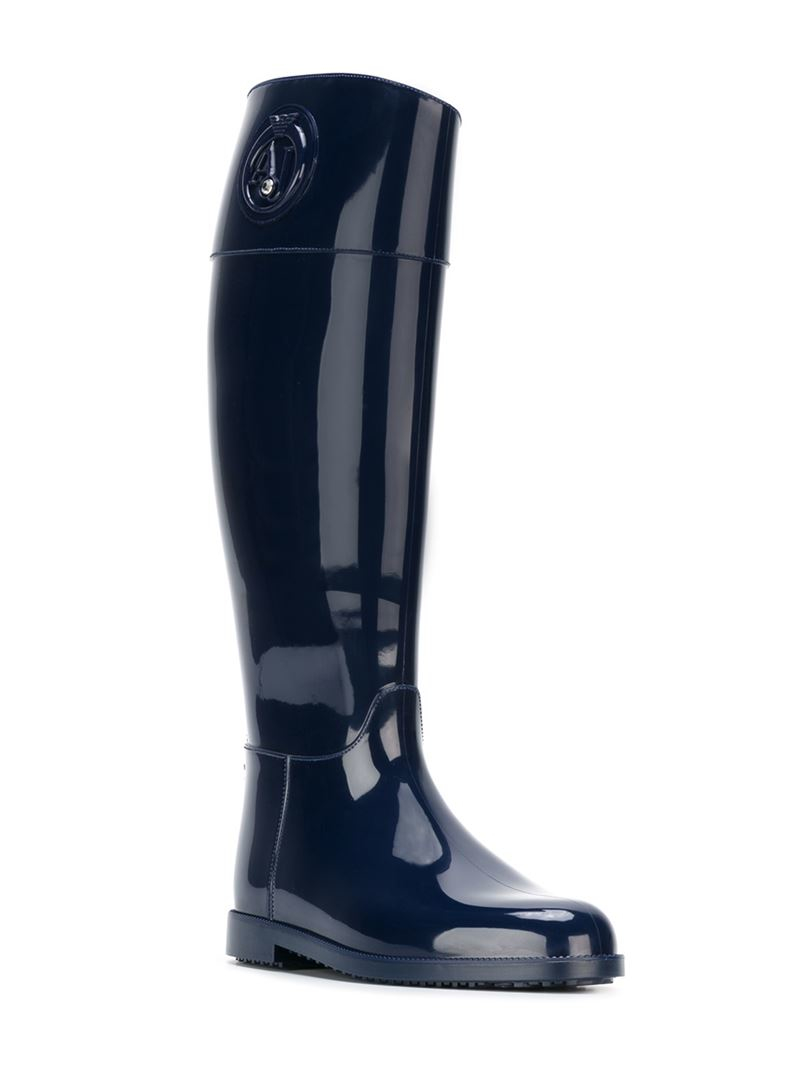 Armani jeans Knee High Rain Boots in Blue | Lyst