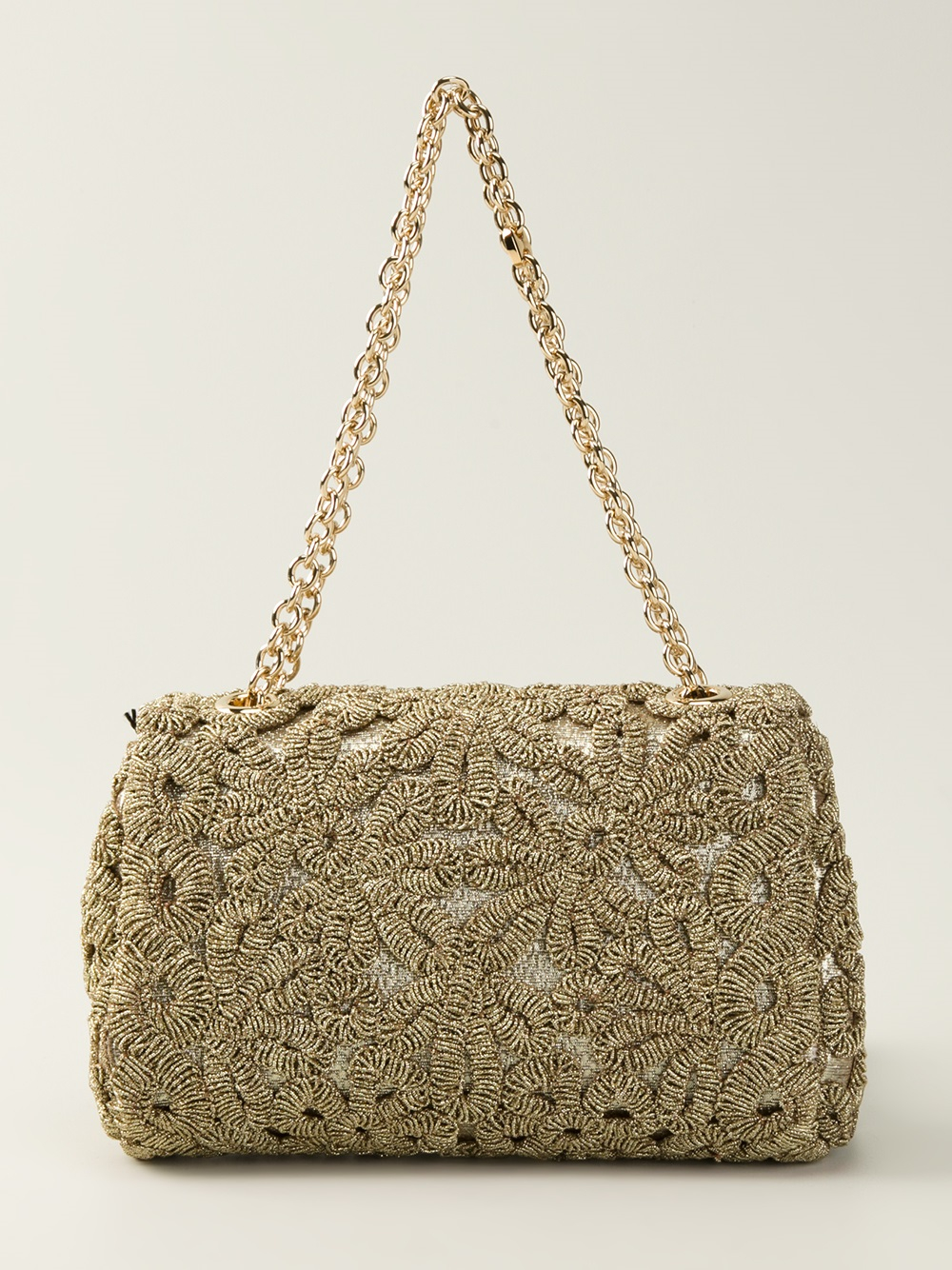dolce gabbana crochet padlock shoulder bag in metallic