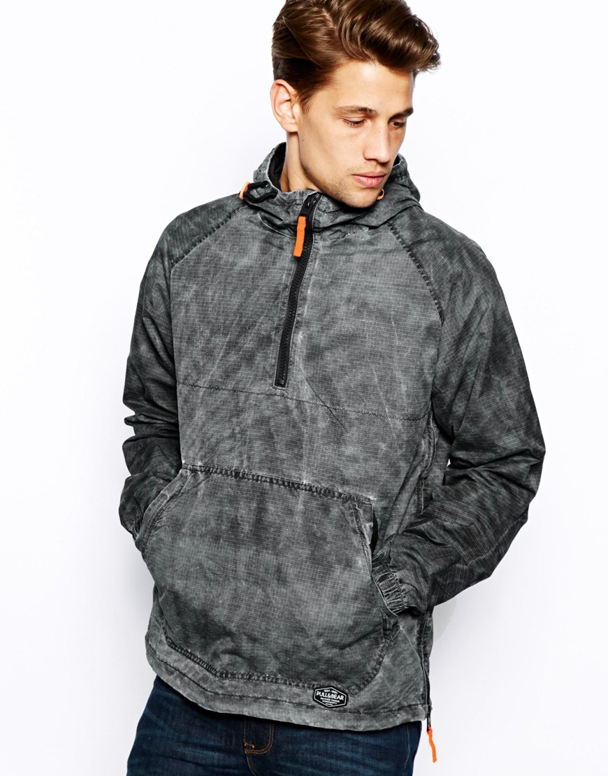 Pull bear hooded overhead jacket in gray for men lyst for Bear river workwear shirts