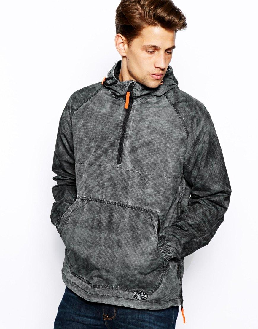 pull bear hooded overhead jacket in gray for men lyst. Black Bedroom Furniture Sets. Home Design Ideas