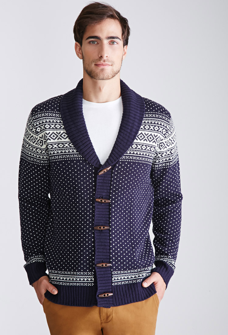 Forever 21 Fair Isle Shawl Collar Cardigan in Blue for Men | Lyst