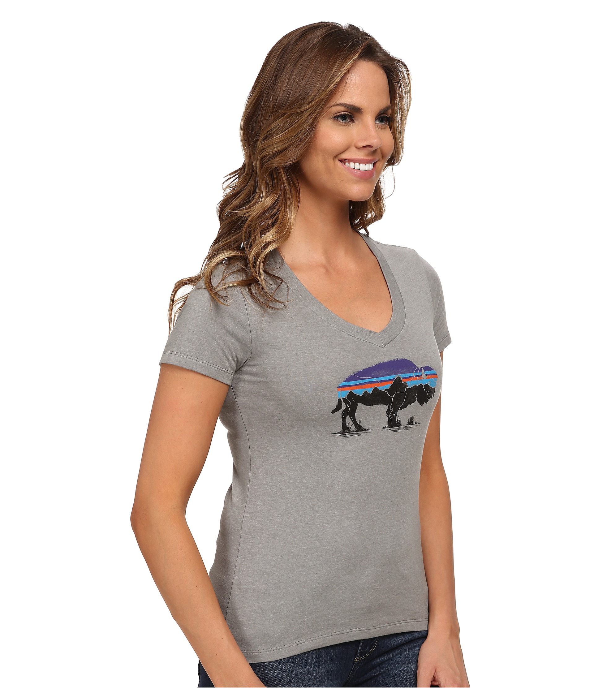 fcc7259f6422a8 Patagonia Fitz Roy Bison Cotton/poly T-shirt in Gray - Lyst